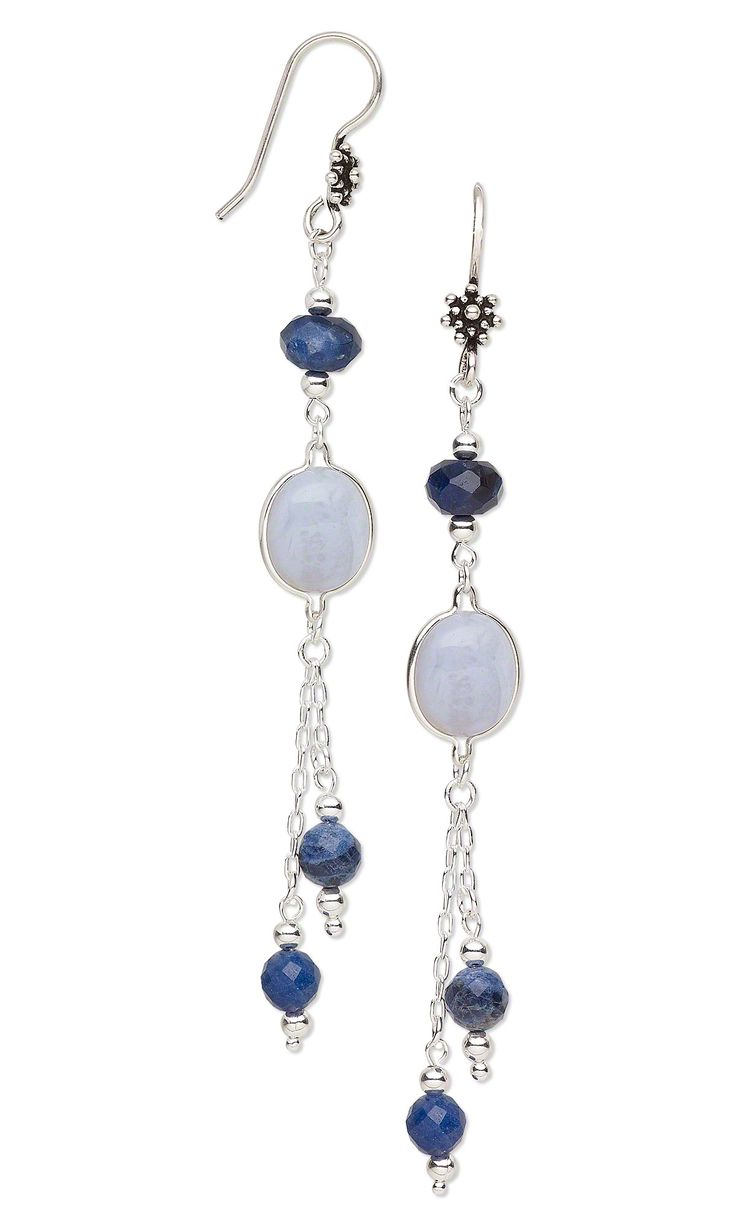 Jewelry Design - Earrings with Sodalite Gemstone Beads, Blue Lace Agate Gemstone Cabochons and Sterling Silver Chain - Fire Mountain Gems and Beads