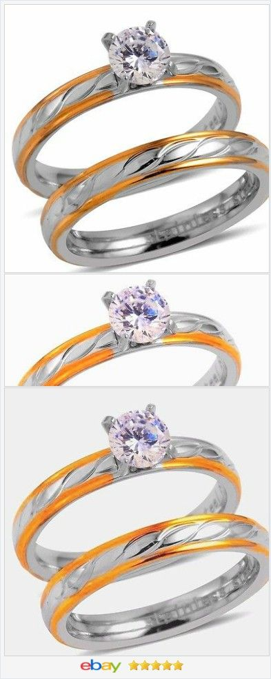 Wedding Set cz solitaire 18k gold AND Stainless Steel size 8 USA Seller #ebay http://stores.ebay.com/JEWELRY-AND-GIFTS-BY-ALICE-AND-ANN