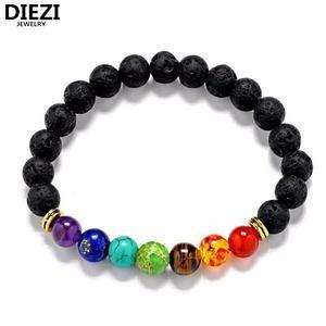 Chakra Healing Balance Beads Bracelet For Men Women Rhinestone Reiki Prayer Stones