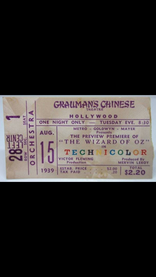 Original Wizard of Oz Ticket