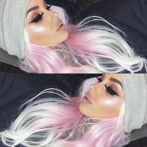 Pink and icy blonde hair