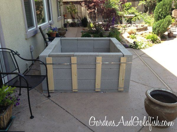 Cinder block patio goldfish pond aquaponics pinterest for Cinder block pond