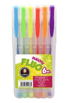 Noster Długopis GEL FLUO w etui 6 kolorów