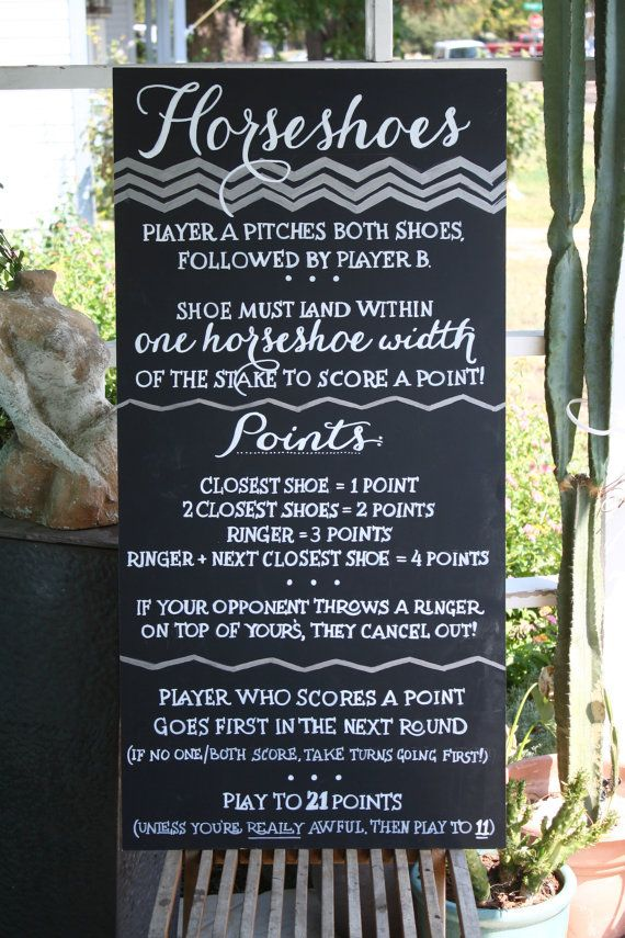 Custom Horseshoes Game Wedding Chalkboard Sign / Event Chalkboard / Reception sign on Etsy, $60.00