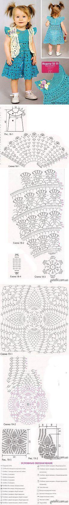 Free Graphics Crochet Patterns - Crochet Patrones Gráficos Gratuitos: Vestidito de Niña Crochet color turqueza