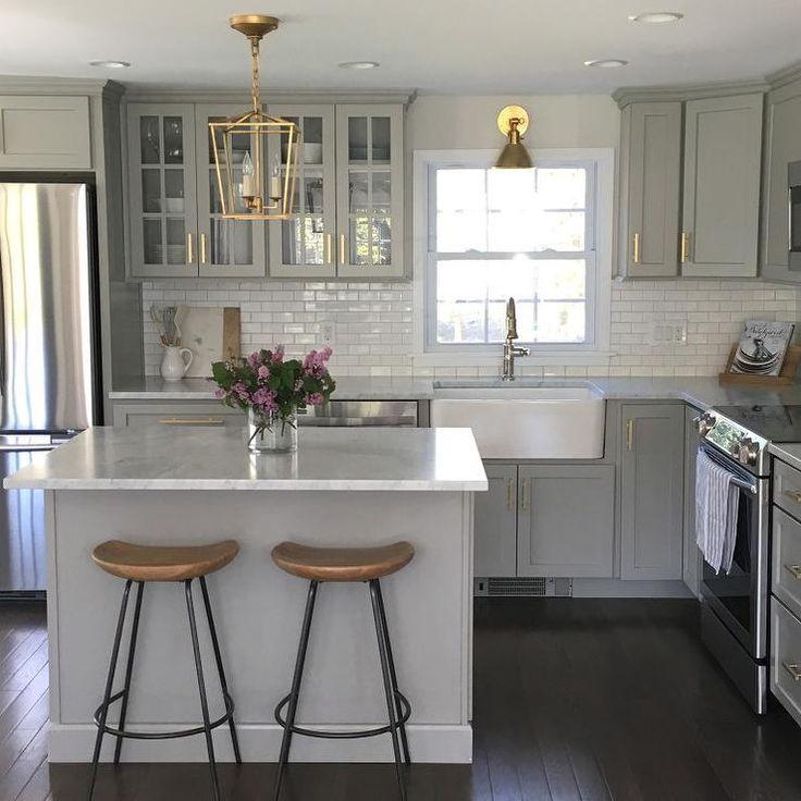 Gray Kitchen Cabinets with Lewis Dolan Brass Bar Pulls - Transitional - Kitchen Yum.
