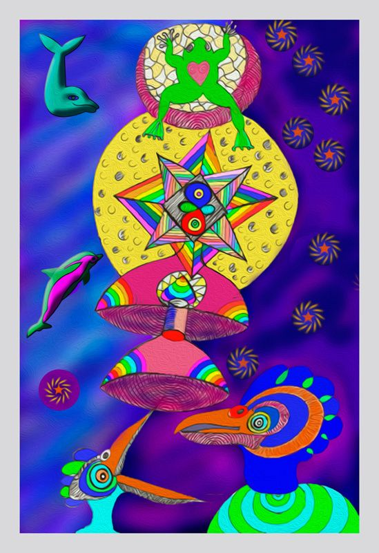Julian VenterFrog in the Moon26 cm x 18 cmA frog has jettisoned itself through a wormhole in order to get to the moon, away from an eagle that wants to feed it to its young.This drawing was inspired by a wonderful story that the Dogon people of Mali tell.Of how a frog like, a kind of amphibian space travelers from a small planet that orbits a smaller star that orbits the star Sirius came down to them and taught them how the planets appear when you leave earth on the way out into deep s...