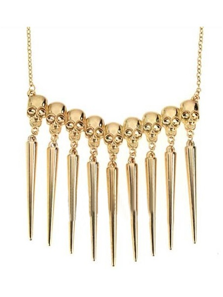 Gold Look Skull Spike Collar Long Necklce