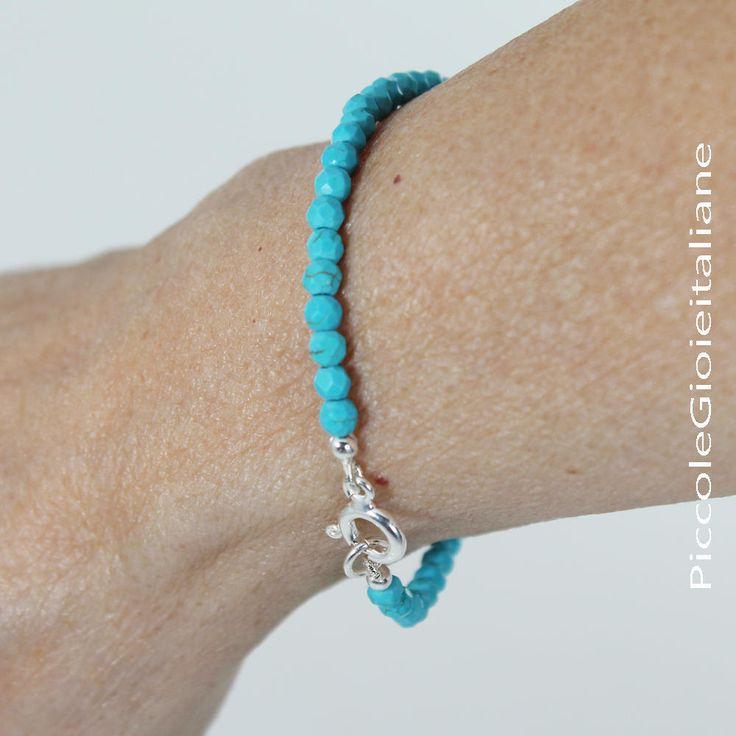 Bracciale turchese  Bracciale minimal Bracciale argento Bracciale moderno Bracciale perline  Bracciale unisex Bracciale pietre dure di PiccoleGioieitaliane su Etsy