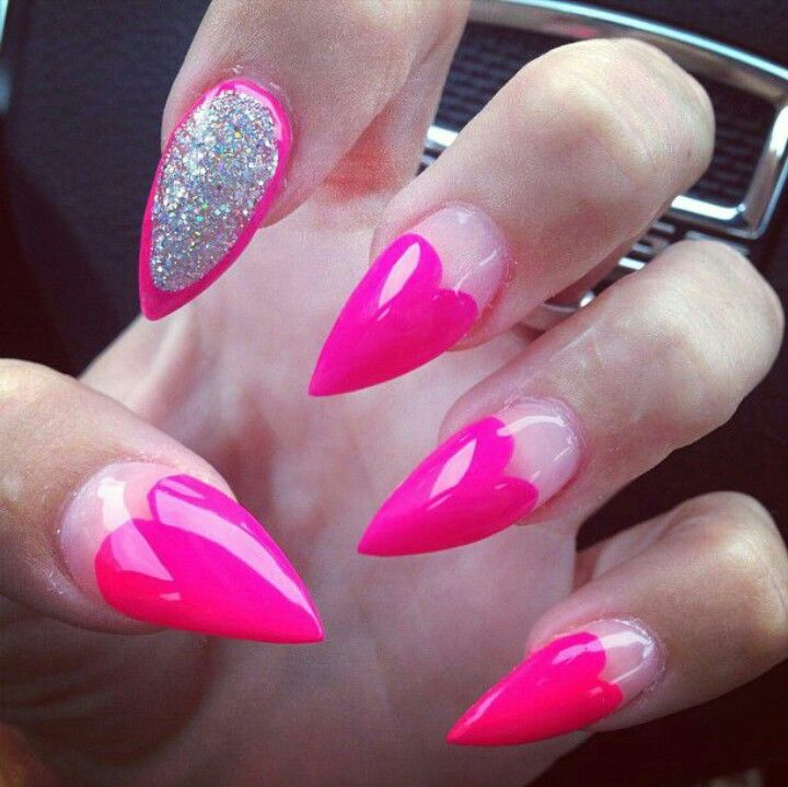 Pink And Gold Pointy Nails