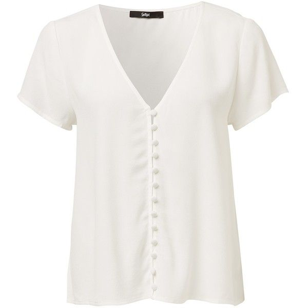 BUTTON THROUGH TEE ($39) ❤ liked on Polyvore featuring tops, t-shirts, v neck tops, button front t shirt, button front top, white v-neck tees and white v neck top