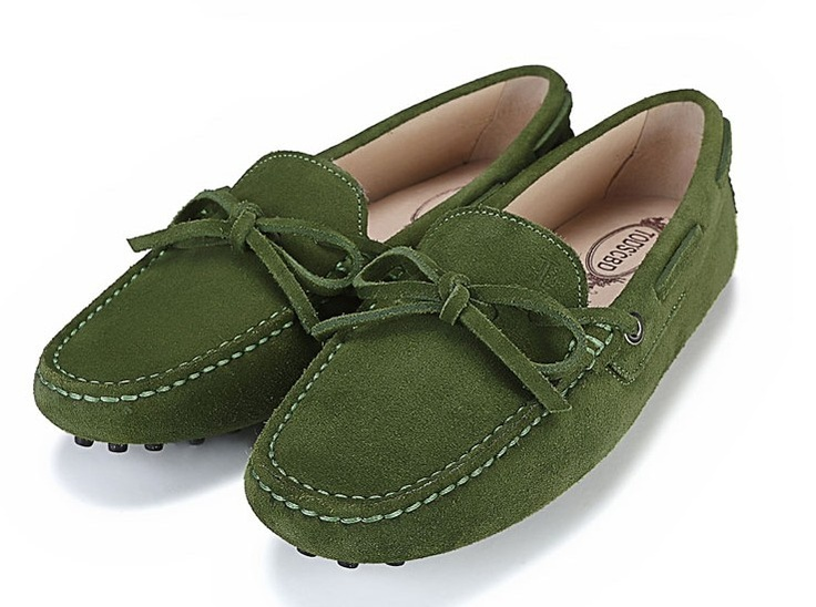 Tods Suede Gommino Army Green Driving Shoes