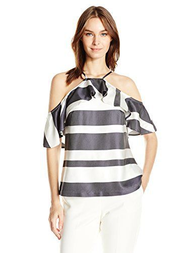 Trina Turk Women's Olan Drapey Stripe Cold Shoulder Top Olaf is an off the shoulder top made up in drapey stripe rayonHalter neckRuffle detail  Blouses, coats, hoodies, nightwear, Shirts, t-shirts for womens, Tops, vest top womens