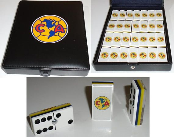 Club America Aguilas Dominoes Game Set Double Six Domino Party