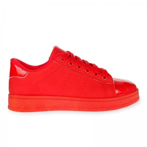 Leia Trainers in Red Faux Leather ($23) ❤ liked on Polyvore featuring shoes, sneakers, red shoes, vegan sneakers, vegan trainers, red trainers and synthetic leather shoes