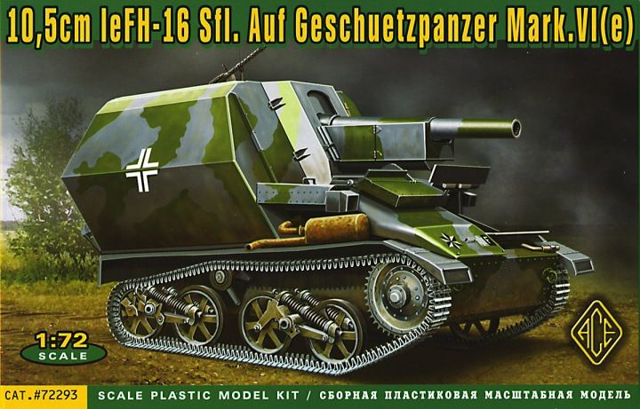 10,5cm leFH-16 Sfl. auf Geschuetzpanzer Vickers Mark.VI(e). Ace, 1/72, rebox 2014 (ex Ace 2012 No.72291, updated / new parts), No.72293. Price: 16,30 EUR (marketplace).