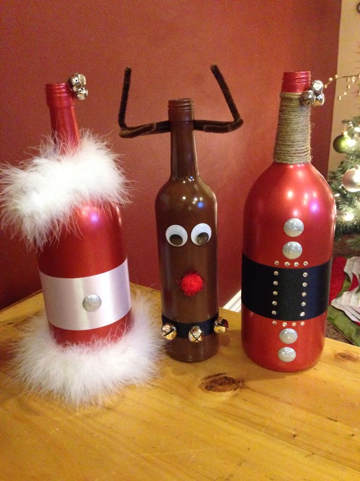 Santa mrs claus rudolph wine bottle diy my diy for Christmas craft ideas with wine bottles