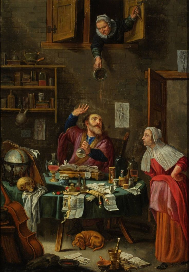 """Trouble Comes to the Alchemist. Dutch School, 17th-century. Oil on canvas mounted on board. From the CHF: """"Although the title suggests this is an image of an alchemist, the scene is one of a physician conducting a uroscopy for a female patient. The confusion may be due to the similarity in objects used in both relative practices. These include a mortar and pestle, a variety of flasks and containers, a human skull, an hourglass, a celestial globe, and books. The overt hilarity of the old…"""