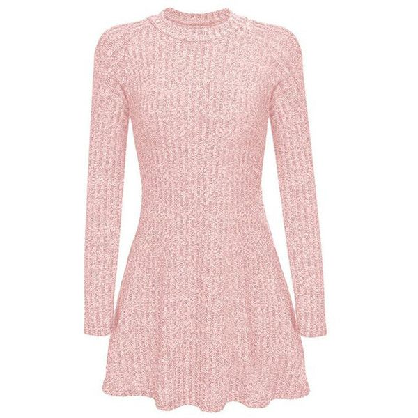 Yoins Pink High Neck Long Sleeve Knit Casual Dress (945 DOP) ❤ liked on Polyvore featuring dresses, vestidos, pink, high neck dress, pink day dress, high neckline dress, knit dress and longsleeve dress