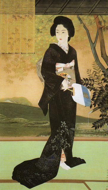 Japan, hanging scroll by Kobayakawa Kiyoshi (1896-1948), Lady in black kimono holding a fan