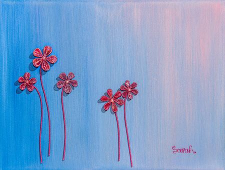 Wire Art on canvas from ButterflyOnBlue: Pink and copper wire flowers on a painted blue background by Sarah Jansma