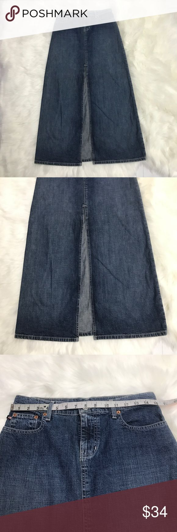 Polo Jeans Co. Ralph Lauren Denim Skirt Polo Jeans Company Ralph Lauren. Size 2, front slit, tea length denim skirt. 100% Cotton. This skirt is in excellent condition. Item #000100. Polo by Ralph Lauren Skirts Maxi