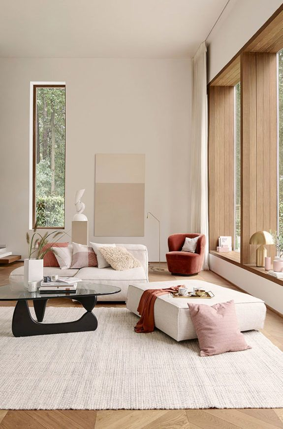 Modern living room design in warm neutral