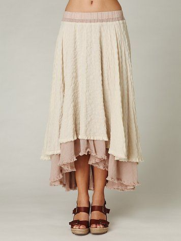 I love this high-low skirt. Not too short.  Would like to adopt this onto one I own, with the under skirt made longer and no weird silhouette underneath.