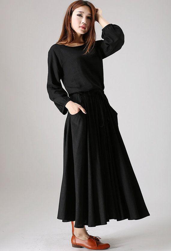 Black dress woman maxi linen dress long sleeve dress custom made casual dress from Etsy
