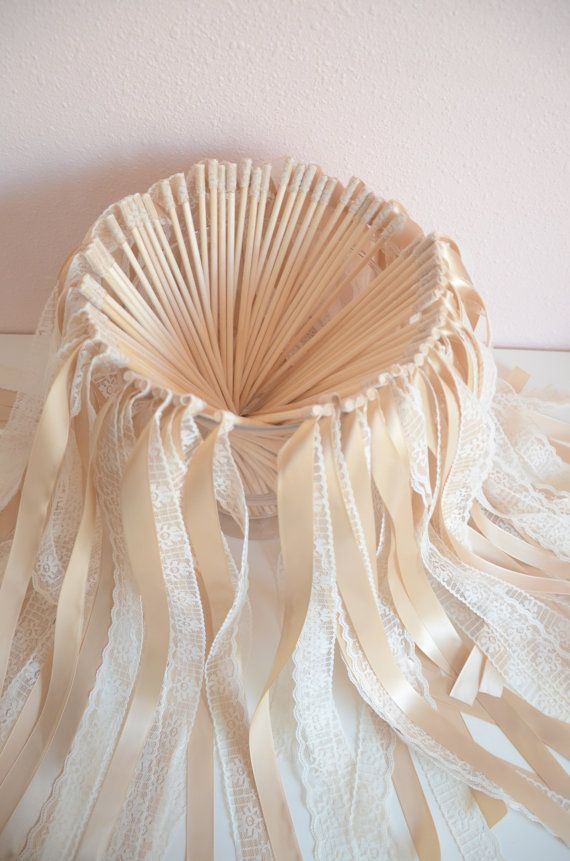 Vintage wedding ribbon wands- Set of 100 single ribbon wands with lace on Etsy, $115.00