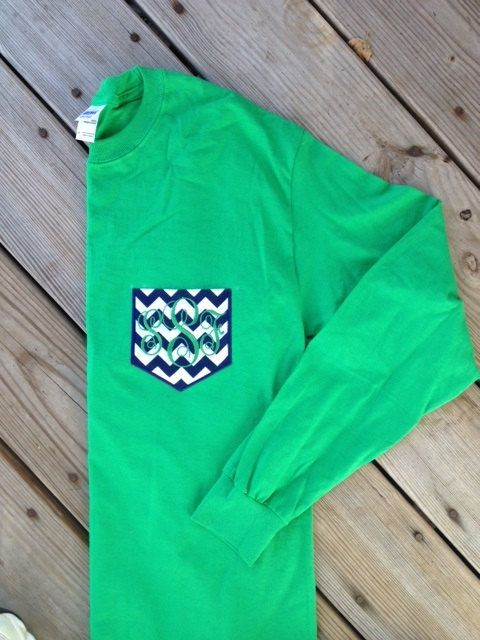 Long Sleeve Monogrammed Pocket Tee by SewChicMonogramming on Etsy, $18.00