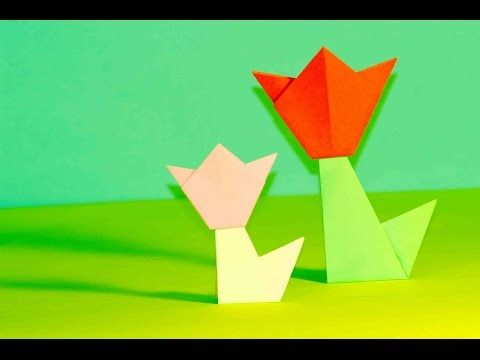 Оrigami for kids. Origami Tulip - YouTube
