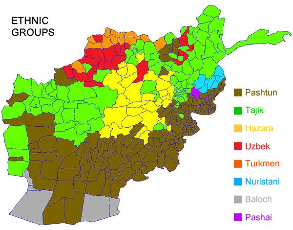 This map shows the ethnic groups within Afghanistan. Pashtun 42%, Tajik 27%, Hazara 9%, Uzbek 9%, Aimak 4%, Turkmen 3%, Baloch 2%, other 4%  The majority Pashtuns have retained political power with great military skill; their traditional code of behaviour, the Pashtunwali, includes rules for mediation, retaliation (blood revenge) and hospitality. The Tajiks have traditionally been known as 'men of the pen', working mainly in government administration or as agriculturalists and traders.