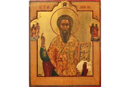 Ikone, Russland, 19. Jh., Darstellung des Stefan Permski - Bischof von Perm, Ei-Tempera auf Holz,