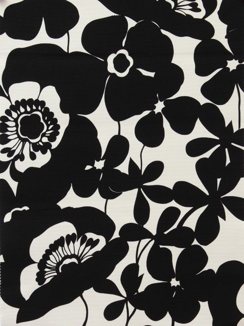 Floral Silhouette Print - flower pattern, printed fabric design // Alexander…