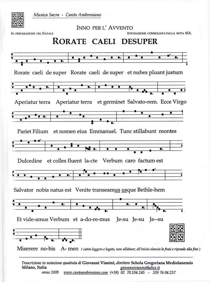 Canto Ambrosiano Rorate Caeli Desuper Sheet Music - From Giovanni Vianini