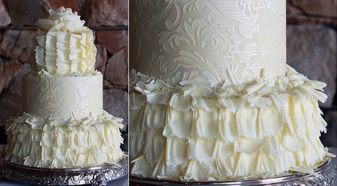 white chocolate frill wedding cake by Kanya Hunt