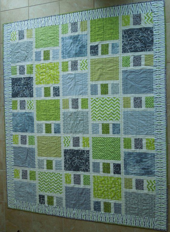 Modern Patchwork Quilt Made With Cotton Fabrics In Shades
