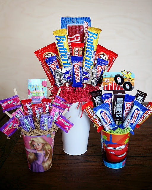 birthday candy bouquet: Gifts Cards, Gifts Ideas, Birthday Bouquet, Candy Bouquets, Birthday Week, Fun Gifts, Kid, Birthday Gifts, Birthday Ideas