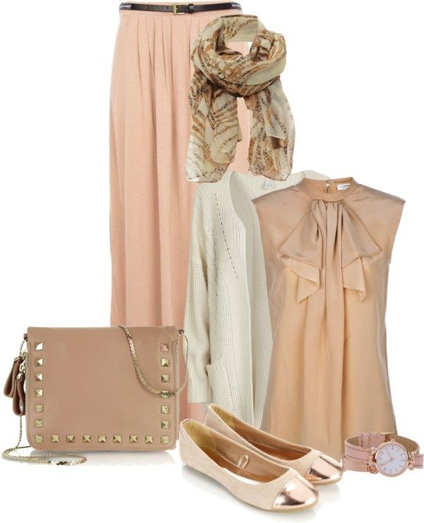 "neutrals #frill top #maxi skirt #""hijab chic #3"" by intan-indie ❤ liked on Polyvore"