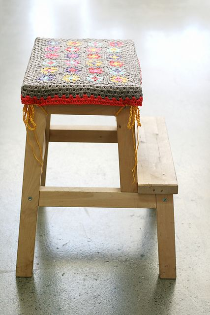 I have a small, old, wooden, folding step ladder that is now screaming to be repainted with a cute crochet cover for the top step.