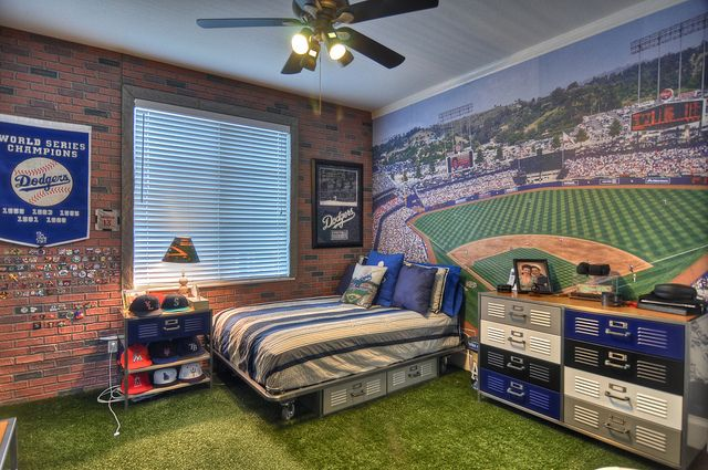 Baseball Fan!  How cool is this!  Turf Grass For Carpet, Dodger Stadium In The Background & Faux-Brick Walls! #orangecounty