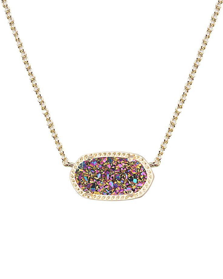 Fan Favorite: Elisa Pendant Necklace in Multi Colored Drusy