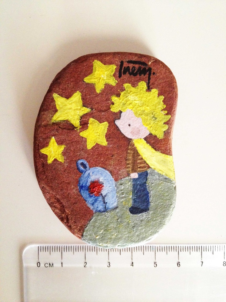 """This is a random stone from İzmir seaside, I illustrated my favourite character """"The Little Prince"""" on it, oil color."""