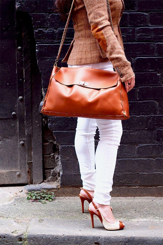 Minimalist large brown leather bag