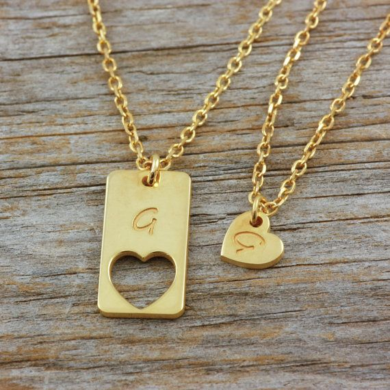 Mother daughter engraved necklaces, set of two silver necklaces, silver, gold filled, rose gold filled, simple jewelry for women