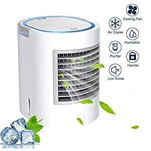 4 In 1 Mobile Klimaanlage Pers/önlicher Mini Klimager/äte USB Tragbar Luftk/ühler Ventilator Luftbefeuchter und Luftreiniger mit 3 Geschwindigkeiten LED Digitalanzeige f/üR Home Office Draussen