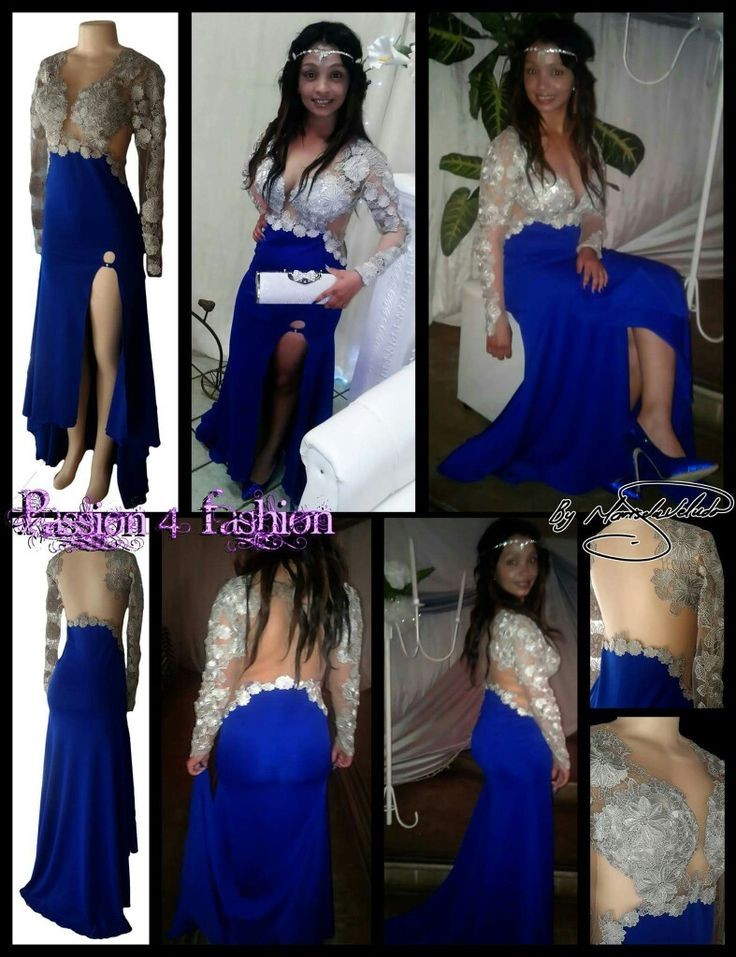 Royal blue and silver lace matric dance dress with an ...