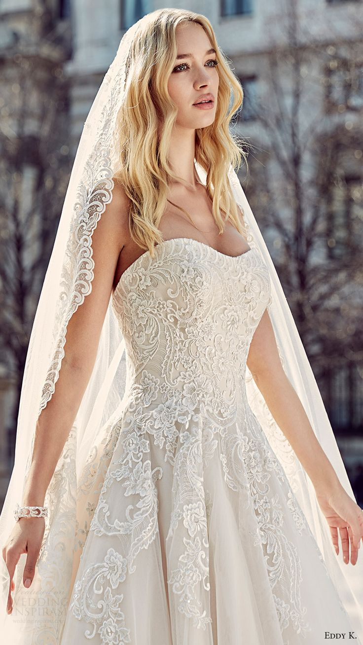 eddy k milano bridal 2017 sleeveless sweetheart lace ball gown wedding dress (md197) zfv veil