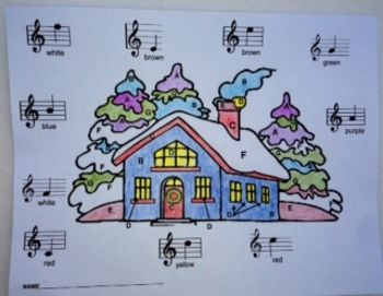 Students will enjoy coloring this Musical Winter House while learning and reviewing the note names in treble clef.  Students color spaces labeled with letters which correspond to notes on the treble staff. http://www.teacherspayteachers.com/Product/Music-Treble-Clef-Notes-Musical-Winter-House-Color-Sheet-991100
